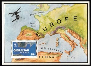 GIBRALTAR SC#364 VIEW FROM SPACE M/S (1978) MNH