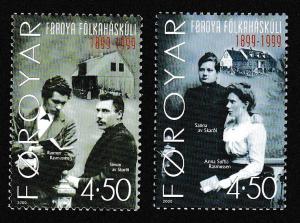 Faroe Is. Centenary of Folk High School 2v SG#387-388 SC#374-375