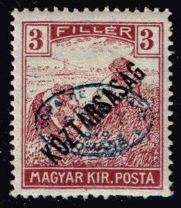 HUNGARY STAMP Debrecen 1919 Köztársaság OVPT 3F  MH/OG