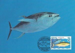 Nauru 1997 Maxicard Sc #443d 50c Yellowfin tuna fish WWF