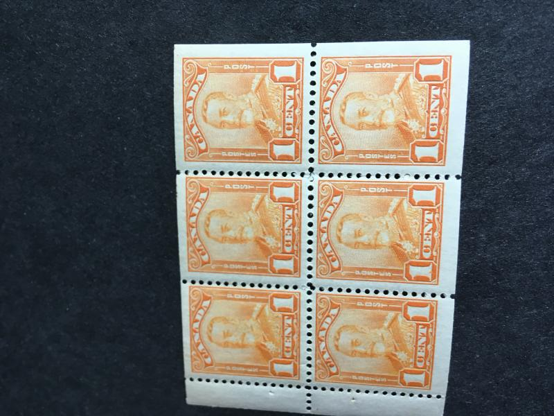 Canada #149a Mint 2 LH OW NH Overall VF Cat. $45 1c Orange KGV Scroll Pane of 6