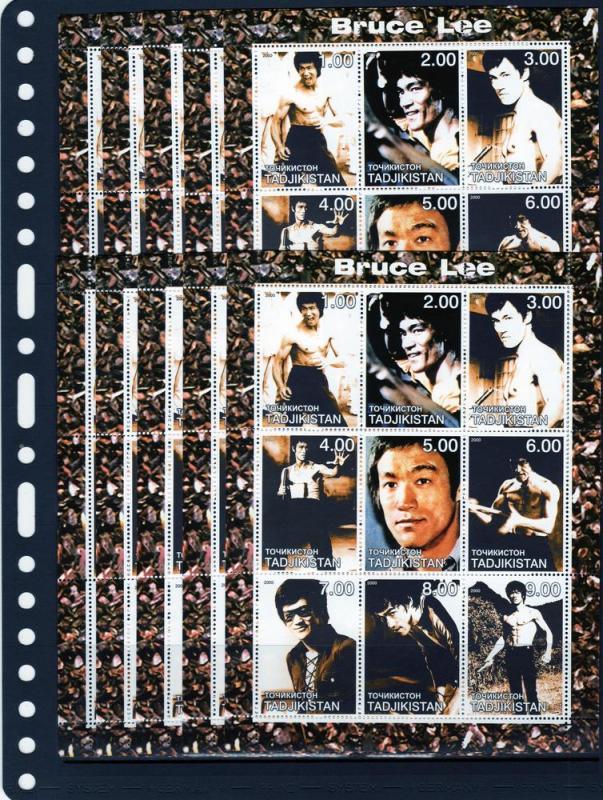 Tadjikistan   2000 BRUCE LEE Hong Kong and American Actor per 10 Sheetlets (9)