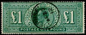SG320, £1 deep green, FINE USED, CDS. Cat £750.