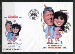 SIERRA LEONE 20 YEARS SINCE MONICAGATE SOUVENIR  SHEET FIRST DAY COVER