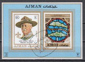 Ajman, Mi cat. 786, BL262 C. Scout Baden Powell s/sheet. Canceled. ^