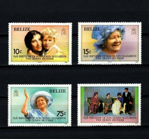 BELIZE - 1985 - QUEEN MOTHER - 85th BIRTHDAY - 4 X MINT - MNH SET!