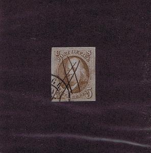 SC# 1 USED 5 CENT FRANKLIN, 1847, RARE FOREIGN RECEIVING POSTMARKS 2018 PF CERT
