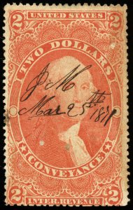 v26 U.S. Revenue Scott #R81d $2 Conveyance silk paper, 1871 manuscript cancel