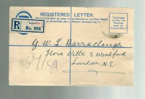 1916 Lagos Nigeria  Registered  Cover to England Postal Stationery Envelope
