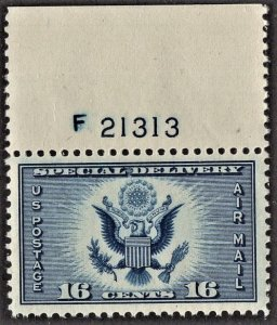 US CE1 MNH VF/XF 16 Cent Great Seal Dark Blue Special Delivery Airmail