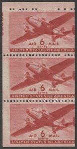 US Sc C25a MNH 6c Transport Airmail Mis-cut Booklet Pane, Partial P#22982