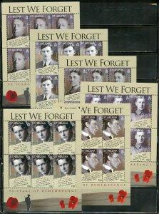 ST.HELENA LEST WE FORGET 90th ANN OF WORLD WAR I SCOTT #970/75 SHEET SET MINT NH