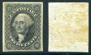 HERRICKSTAMP UNITED STATES Sc.# 17 12¢ Black, Large Part OG XF Superb LH