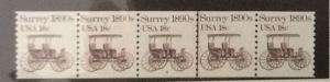 United States, 1907, 18c Surrey Strip of 5 Plt # 8, **MNH** #3