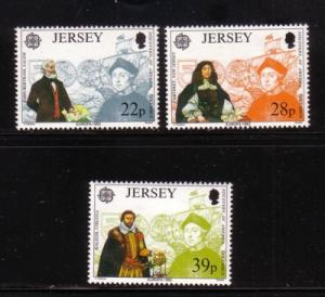 Jersey  Sc 593-5 1992 Columbus Europa America stamps mint NH