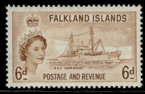 FALKLAND ISLANDS QEII SG190, 6d deep yellow-brown, NH MINT. Cat £12.