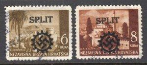 CROATIA SPLIT LOCAL GERMANY FELDPOST OVERPRINT SOUND VF POSTALLY USED x2 #1