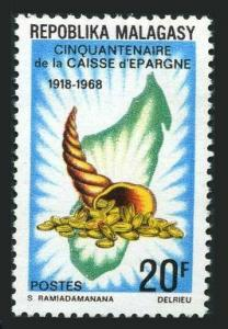 Malagasy 419 two stamps,MNH.Mi 592. Saving Bank 1968.Map,Cornucopia with coins.