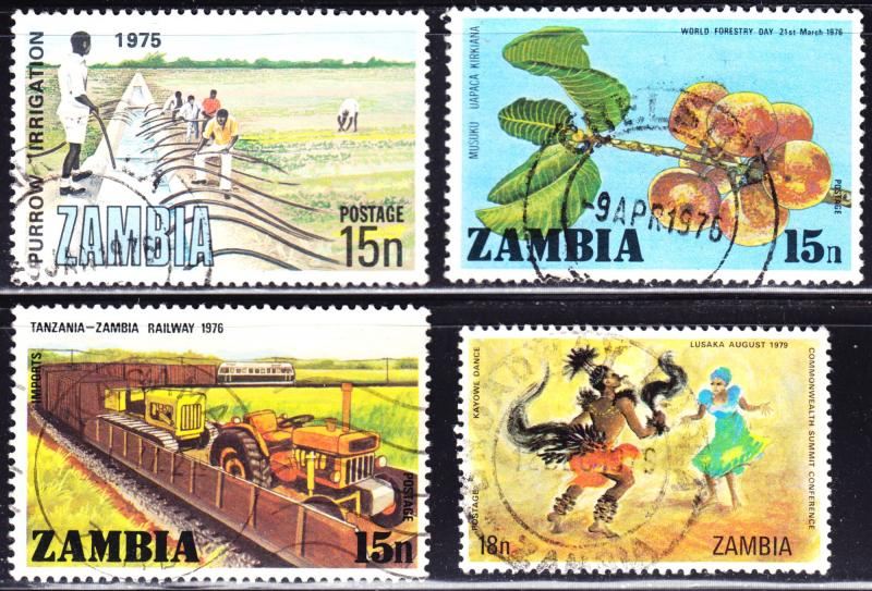 Zambia Scott 155, 160, 164, 192  F to VF used.