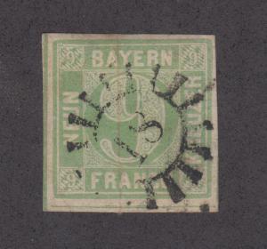 Bavaria Sc Mi 5aII used 1850 9kr Numeral, Type II, 18 Millwheel of Augsburg