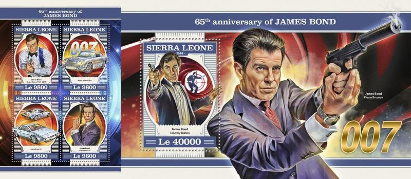 Z08 IMPERF SRL18205ab Sierra Leone 2018 James Bond MNH ** Postfrisch Set