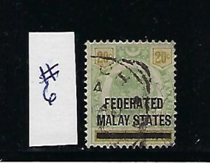 FEDERATED MALAY STATES SCOTT #6 1900 NEGRI SEMBILAN 20 CENTS OVERPRINT- USED