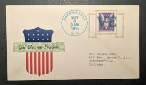 1945 God Bless Our Freedom Greenhurst NY Connersville IN Patriotic WWII Cover