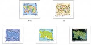 Jersey Sc 1419a-e 2010 Map singles stamp set used