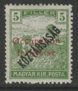 Hungary French Occupation Arad Issue 1919 5f MH* A18P16F625