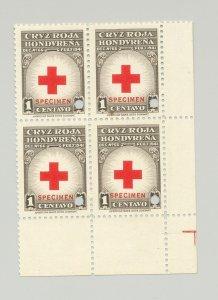 Honduras #RA4 Red Cross 1v Block of 4 Punched & o/p Specimen