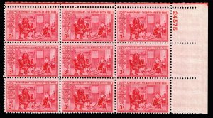 US STAMP #1004 – 1952 3¢ Betsy Ross PL# BLK OF 9  MNH