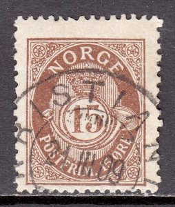 Norway - Scott #52 - Used - Pencil/reverse - SCV $12.00