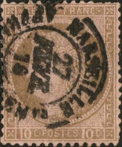 FRANCE - Yv.54 10c brun sur rose obl. CàD  MARSEILLE /AFFRANCHISEMts