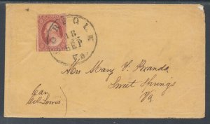 US Sc 10A on cover. 1851-57 3c Washington type II, NORFOLK to SWEET SPRINGS VA