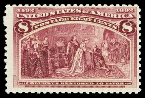 Scott 236 1893 8c Magenta Columbian Issue Mint Fine+ OG NH Cat $140