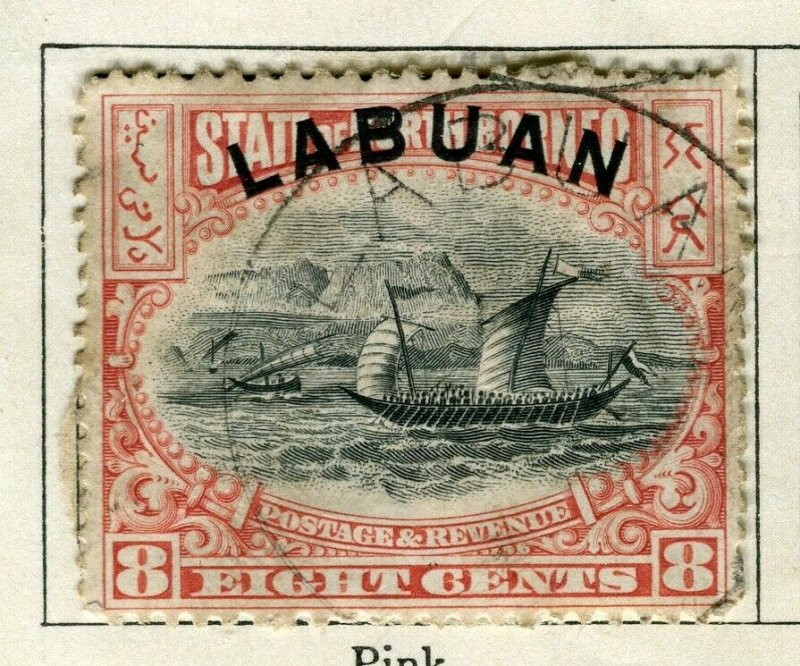 NORTH BORNEO LABUAN; 1897 classic Pictorial issue used 8c. value