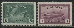 Canada KGVI 1946 Peace Issue 50 cents and $1 unmounted mint NH