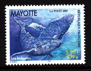 Mayotte MNH Scott #134 5.20fr Whales