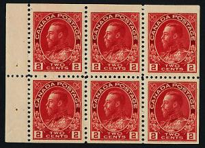 Canada 106a Booklet pane MNH King George V (crease on 1 stamp)