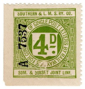 (I.B) Southern & LMS Joint Railway (Somerset & Dorset) : Letter Stamp 4d
