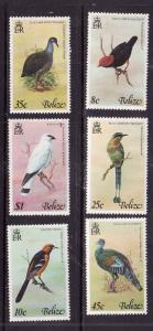 Belize-Sc#387-92-Unused NH set-Birds-1977-