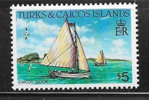 Turks & Caicos Islands #592  $5.00  Caicos Sloop  (MNH) CV22.50