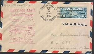 GILBERT & ELLICE IS US PO 1940 first flight cover Canton Is to Noumea......77220
