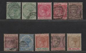 $Gibraltar Sc#8//21 used/mint, F-VF, part set, 10, 17, 21 mint, Cv. $192.10