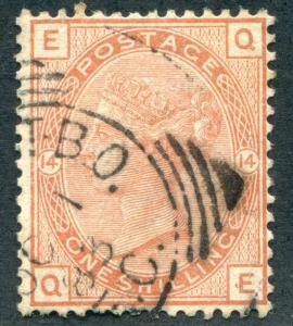 GREAT BRITAIN 87 USED, 1 SH SALMON, VICTORIA NICE STRIKE