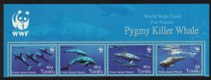 Tuvalu WWF Pygmy Killer Whale Top Strip of 4v WWF Logo 2006 MNH