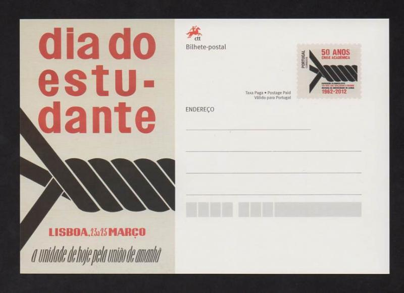 POSTAL STATIONERY PORTUGAL STUDENT DAY 2012