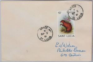 39804  ST LUCIA -  POSTAL HISTORY - COVER with nice postmark: GRACE 1981