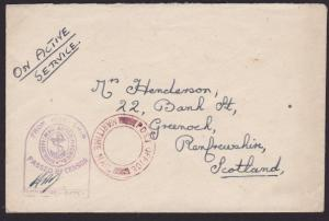 GB WW2 censor cover to Scotland POST OFFICE / MARITIME MAIL in red..........2871