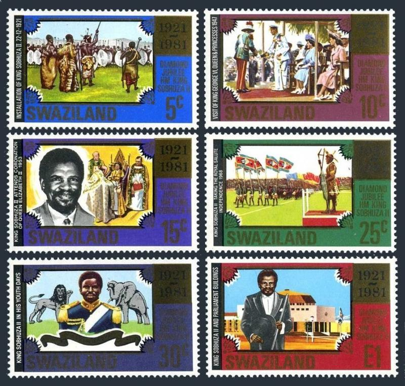 Swaziland 385-390,MNH.Michel 378-383. Installation of King Sobhuzu II,1981.